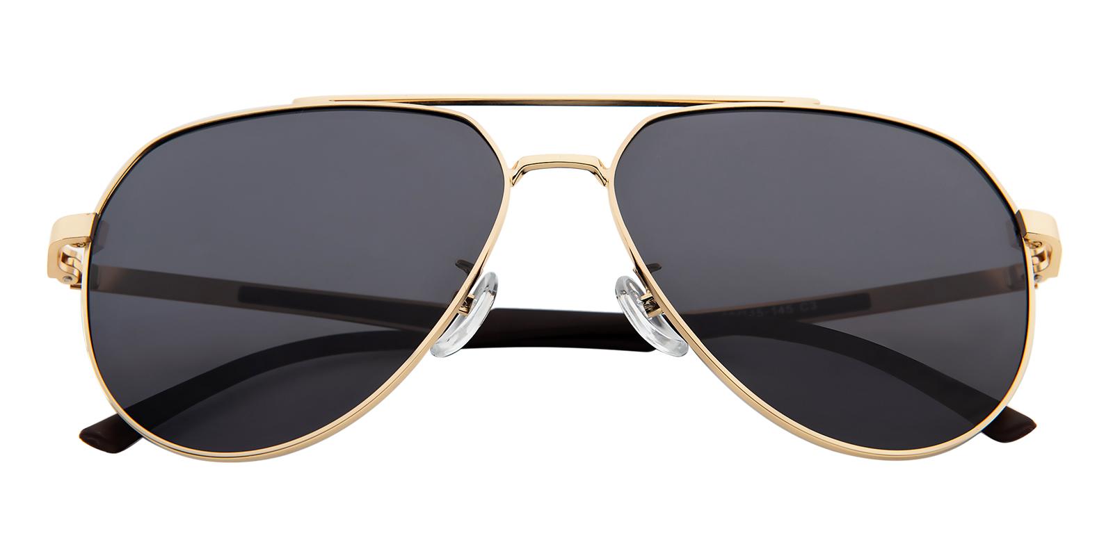 Women|Men's Aviator Sunglasses, Full Frame Metal Golden - SUP0788