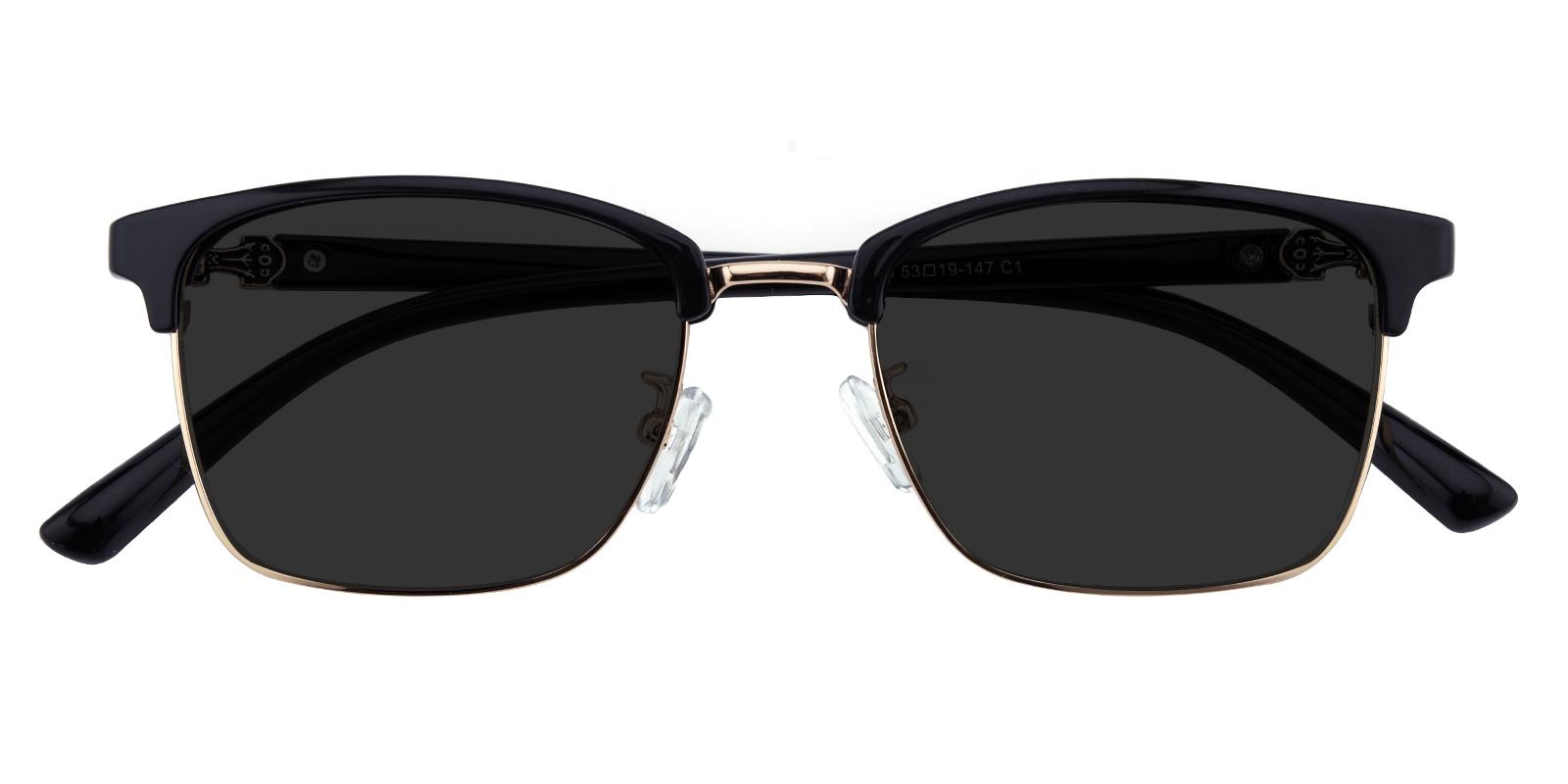 Women|Men's Browline|Rectangle Sunglasses, Full Frame TR90 Black/Golden - SUP0907